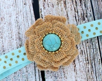 Turquoise and Burlap Headband for girls of all ages!! Absolutely gorgeous burlap headband!! Perfect for Burlap Weddings!