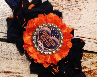 Denver Broncos Headband for babies and/or little girls!! Denver Broncos Cutie!  Denver Broncos Hair Bow - Broncos Bottlecap Headband