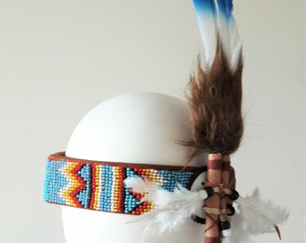 Beaded work  headband with large swan  blue  colour Feathers