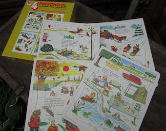 "Richard Scarry's Seasons, 1963 Set of 4 Preschool Puzzles, Extra Thick Frame Tray Puzzles. 8"" x 10"" Complete in Original Box. Real Cute"