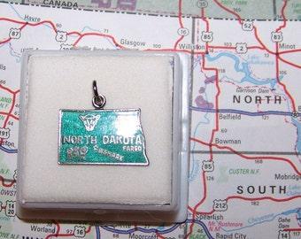 Vintage NORTH DAKOTA  Sterling  and Enamel State Charm -- Fargo and Bismark