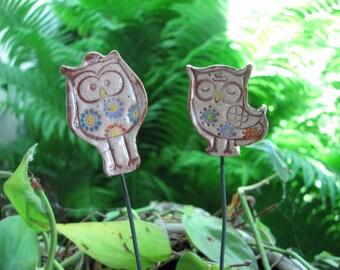 Owls Garden Stakes, Owls Planter Decor, Planter Stakes, Ceramic Owls, Garden Decorations