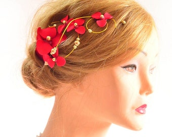 Red headpiece Red floral hair clip Fascinator Modern headpiece Flower girl Bridesmaid hair accessories