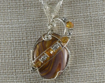 Cabochon Pendant Sterling Silver Wire Wrapped Necklace