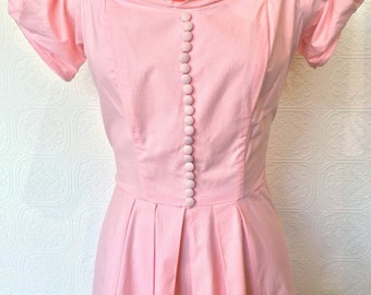 1950's Pink Cotton Evening Gown
