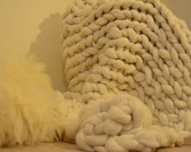 SALE! Chunky knit merino wool blanket throw 36x50 inches. Many colours available