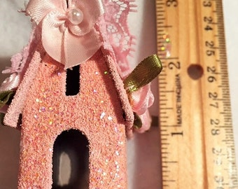 """Pink Christmas 2 1/2"""" tall pink shabby chic Christmas village house."""