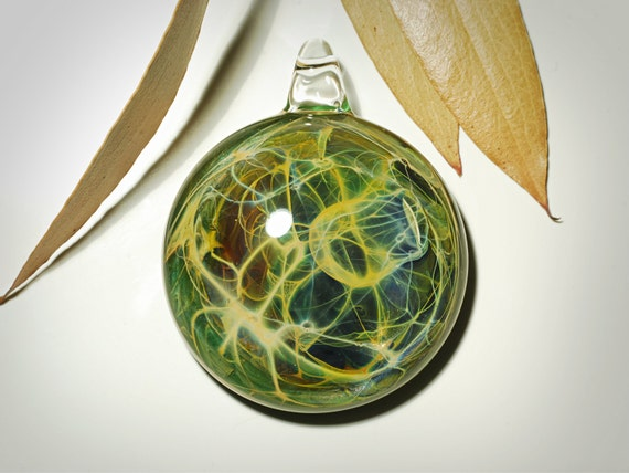 Emerald Earth Pendant - Artisan Necklace - Heady Blown Glass Jewelry - Rare - Limited - Handmade Blown Glass - Ready to Ship -Free Shipping