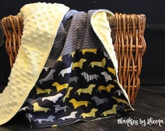 Baby Blanket, Puppy Blanket, Minky Blanket, Handmade Blanket, Yellow Blanket, Stroller Blanket, Car seat Blanket, Striped Blanket, Blankie