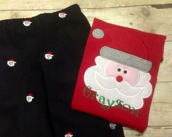 Boys Santa Shirt/ Boys Christmas Shirt/ Boys Holiday Shirt/ Personalized/ Baby/ Infant/ Toddler/ Youth sizes available in L/S or S/S