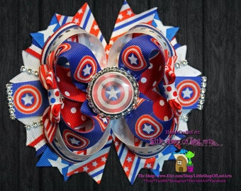 Avengers Captain America Inspired Ready To Be Shipped 5 inch Boutique Bow