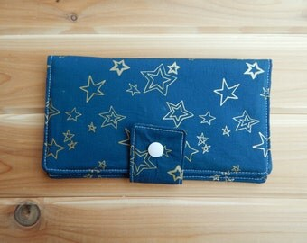 Navy and Gold// Fabric Checkbook Wallet // Feminine Bifold Wallet