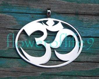 Symbol of OM pendant (1 3/8 x 1 1/2 inch) - Stainless Steel