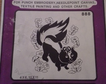 80s SKUNK Pretty Punch Hot iron transfer pattern 888 for Punch Embroidery, Needlepoint Canvas and more