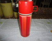 King Seeley Red Orange Insulated Picnic Camping Lunch Work Thermos Vintage Beverage Soup Container
