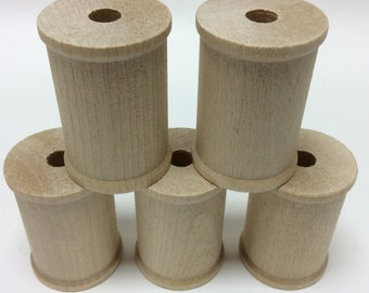"2-1/8"" x 1-1/2"" Wood Thread Spools - Set of 5 - Unfinished Wood Spool - 3/8"" Hole - Large Wooden Spool - Sewing Spool"