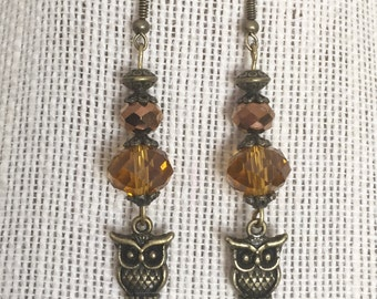 Antique bronze owlet earrings