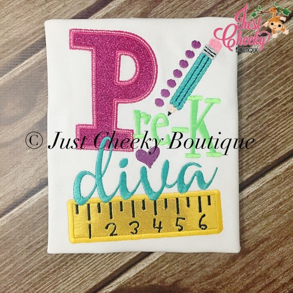 Pre-K Diva Embroidered Girls Shirt - First Day of Preschool  - Back to School - Kindergarten - 1st 2nd 3rd 4th 5th 6th Grade - School Diva
