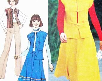 """Uncut Retro Simplicity Sewing Pattern no 7429 Size 12 Bust 87cm 34"""" Vintage 1970s Vest Skirt Pants"""
