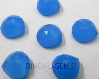 Lot 15 Pieces Blue Chalcedony Heart Shape Rose Cut Loose Gemstone