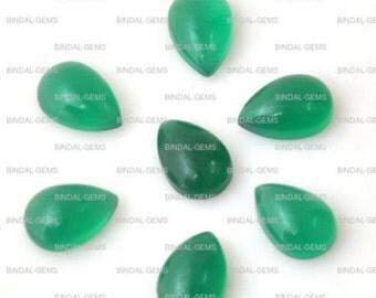 15 Pieces Wholesale Lot Wonderful Green Onyx Pear Shape Cabochon Gemstone For Jewelery