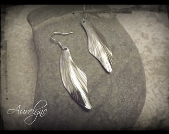 Stainless steel Earings Psylle Ash leaf dreamlike fairy elven