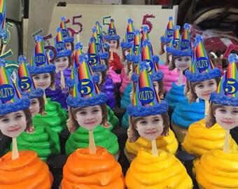 Rainbow birthday hat photo cupcake toppers . set of 12