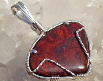 Blazing Mary Ellen Jasper in Silver-- CrimsonSwirl