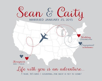 First Anniversary, 1 Year Anniversary Gifts, Wedding, Honeymoon, Gifts for Him, Husband, Hawaii Map, Champagne, Blush Pink, Gray   WF4