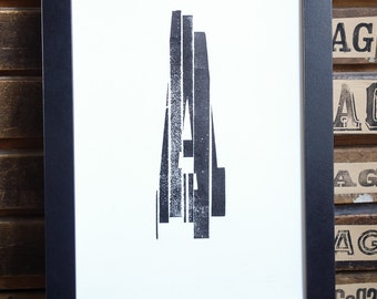 Sliced A, second series typographic poster in letterpress