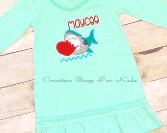 Shark Dress/ Personalized dress/ Personalized Shark Dress/ Girls Dress/ Shark Outfit/ Shark top/ Shark clothing/ birthday dress