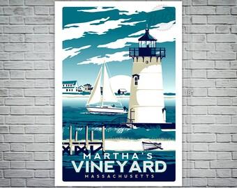 Martha's Vineyard Massachusetts Screen Print Vintage Retro travel poster - Etsy