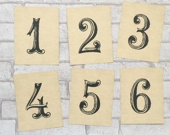 Wedding Table Number Cards - Simple Rustic retro vintage style