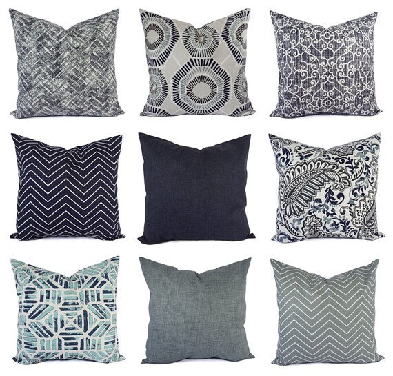 Decorative Pillow Cover Blue Grey Pillow Chevron Pillow