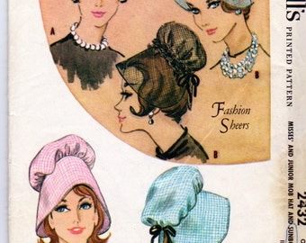 Vintage 1960, McCalls 2432, Uncut Misses and Junior MOB Hats Pattern and Sunbonnets pattern, Fashion Sheers, Sunbonnet
