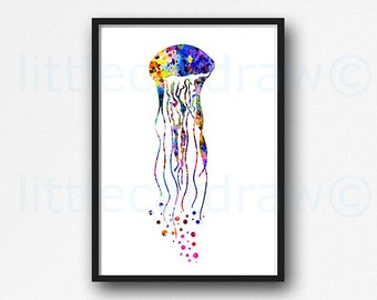 Jellyfish Print Nautical Watercolor Painting Art Print Rainbow Jelly Fish Sea Art Colorful Print Beach Decor Wall Art Unframed