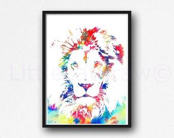Lion Print Watercolor Painting Print Wall Art Majestic Colorful Safari Animal Art Lion Lover Gift Art Print Bedroom Wall Decor Home Decor