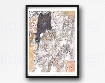 Cats cats and more cats, Cat Print Watercolor Painting Art Print Cat Lover Gift Wall Art Cat Wall Decor Black Cat Tabby Cat Unframed