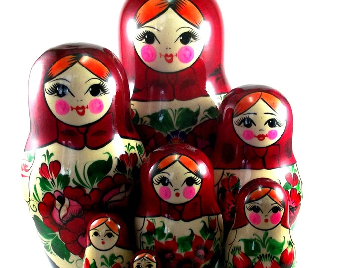Nesting Dolls 11 pcs Matryoshka Russian Babushka doll set Stacking Wooden Handmade birthday christmas gift Suvenirnaya