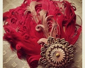 Bronze Gear & Filigree Red Feather Fascinator Hair Clip