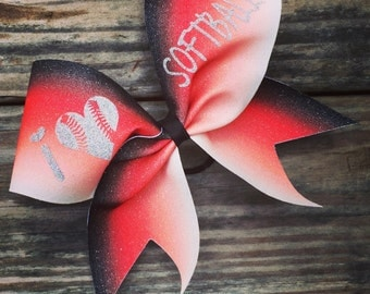 I love softball ombre glitter bow. Available in any color.