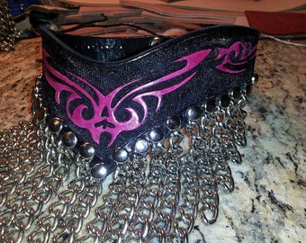 Hand Tooled Tribal Leather Waterfall Collar