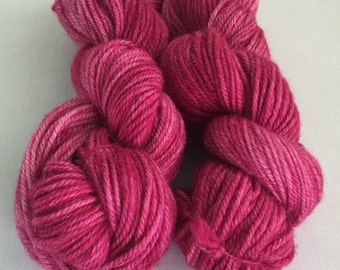Alpaca Yarn, Hand Dyed Amethyst, 200 Yards,  Worsted Weight 3 ply Yarn, Deep Pink Heathered Yarn