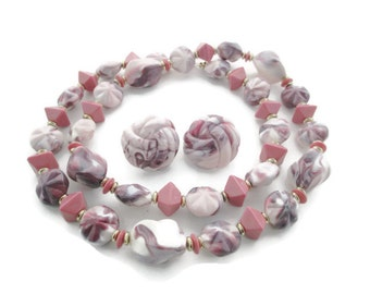 Vintage  Solid Pink Marbled Lucite Chunky  Necklace & Dome Earring Set
