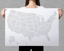 US map, colouring poster, US travel map, sales map, USA art print, bubble colouring page, map art, patriotic wall art, adults coloring page