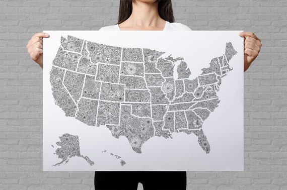 USA map poster giant coloring page USA travel map sales