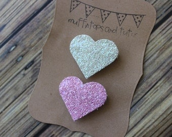 Glitter heart hair clips- Cream and pink -