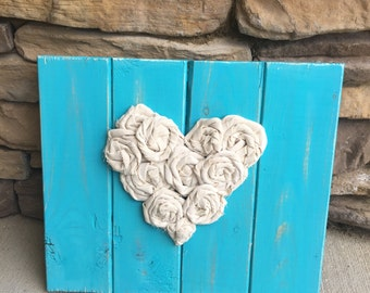 Wood love sign with fabric rosettes turquoise shabby chic wood sign heart