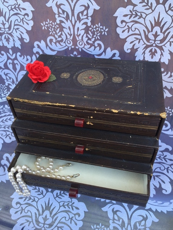 Items Similar To Vintage 3 Drawer Cardboard Box Red