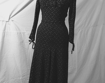 Rare 1970's BIBA UK Black gold star print dress